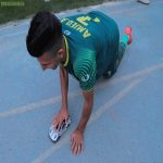 Al Shorta (Iraq) midfielder Amjad Attwan celebrates win over rivals Al Diwaniya by playing with a toy car