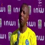 Backdrop falls on Zemamra player (Moroccan league) at post-match interview
