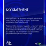 Sky statement on the European Super League