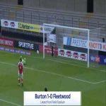 Burton 1-0 Fleetwood - Lucas Akins 36'