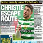 [Daily Mail, print edition] Norwich City and Burnley want Scotland midfielder Ryan Christie, with the 26-year-old set to become the first Celtic departure of a summer of transition at the club.