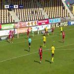 Jacob Bergström flies into the post and nearly fells the goal (Mjällby [1] - 0 Östersund, 38')