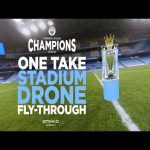 Manchester City's single shot drone flight through Etihad Stadium to celebrate winning the Premier League is pretty damn cool.