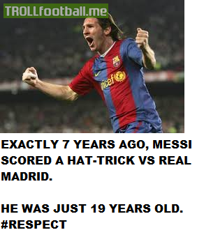 Today in History : Messi scores his first career hattrick against Real Madrid at age of 19 in El Classico Debut