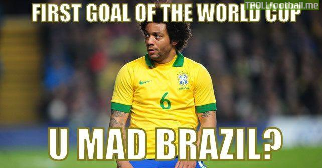 Poor marcelo.. First ever Own goal by a brazilian in the World Cup History.