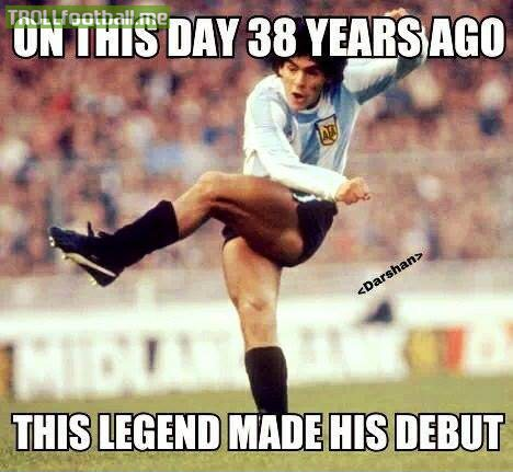 Today in history , Maradona makes his Debut