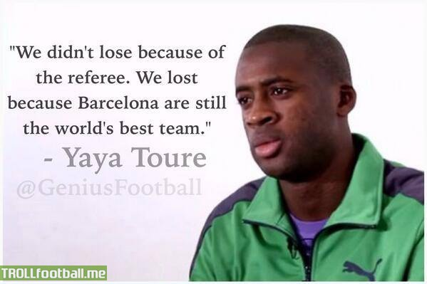 Yaya Toure After Game We Didnt Lose Because Of Referee We Lost