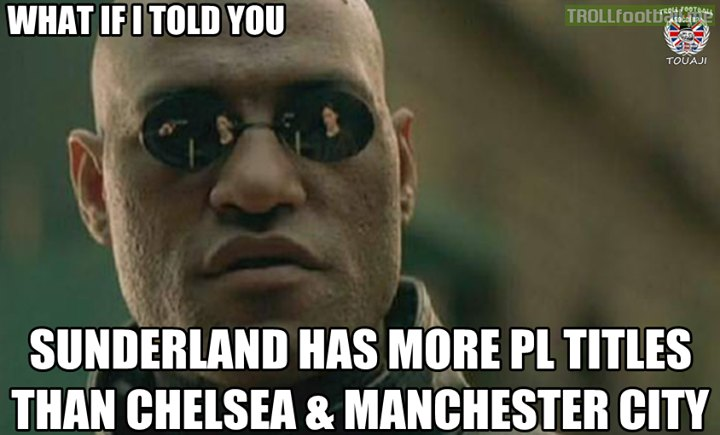 FACT : Sunderland has more PL titles than Chelsea and Manchester City