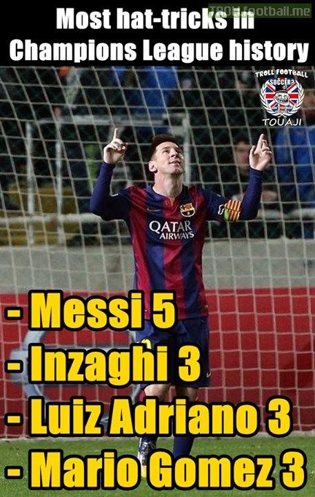 Most hat-tricks in Champions League history !  ec79d27ba2c