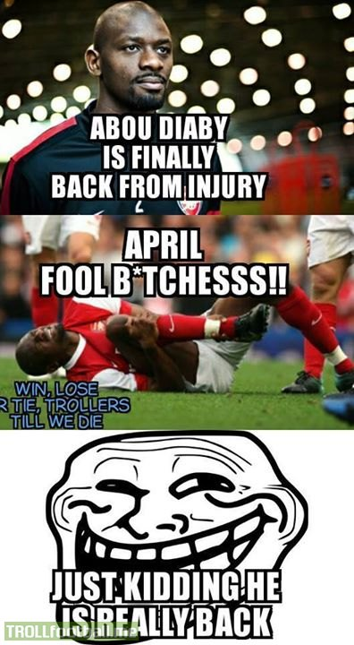 abou diaby is finally back from injury troll football