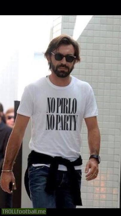 """Andrea Pirlo with """"No Pirlo No party"""" Tshirt"""