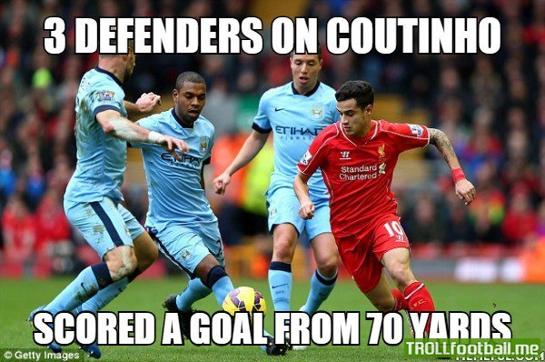 A description about Philippe Coutinho's winning goal. Liverpool 2 - 1 Manchester City