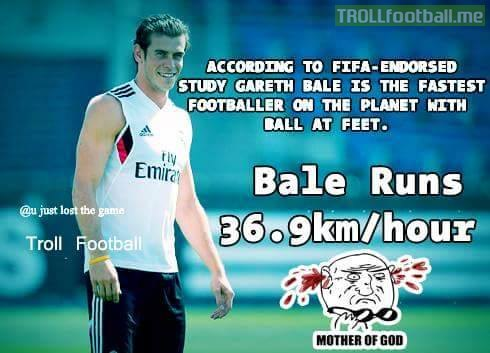 Gareth Bale is the fastest footballer on the planet with Ball
