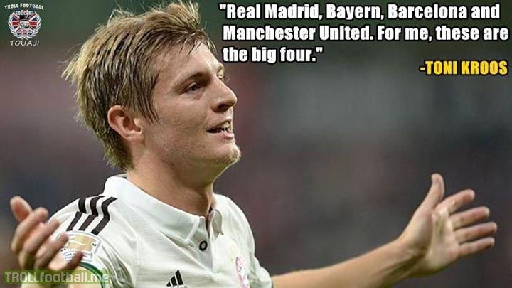 Toni Kroos on the BIG 4 Football Clubs